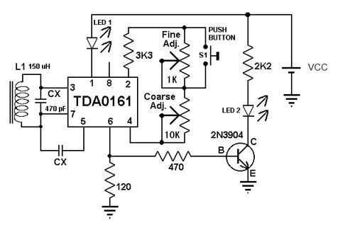 Metal detector circuit with TDA0161