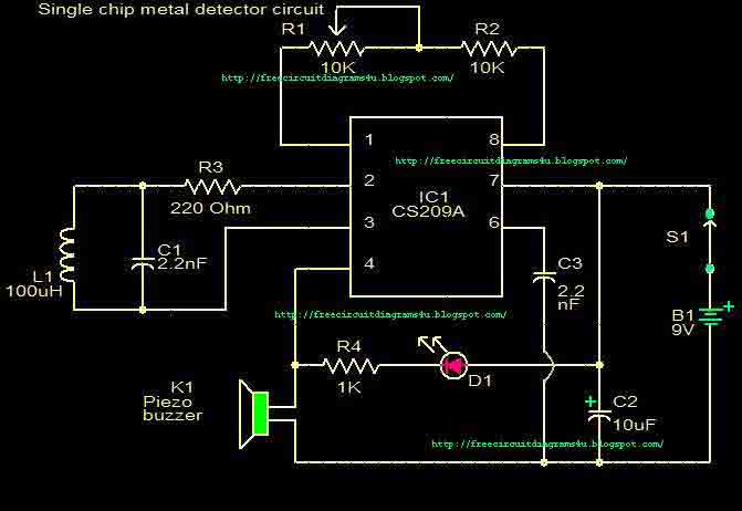 Metal detector circuit with CS209A - img1