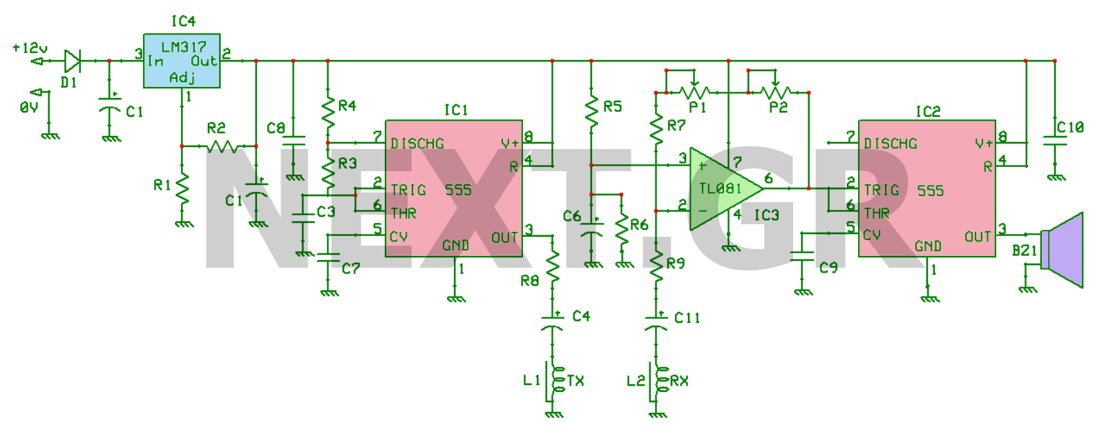 Induction Balance Gold Metal Detector Circuit - schematic