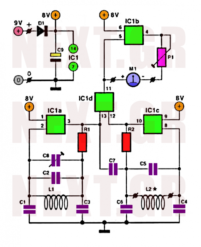 Simple Metal detector circuit with CD4030 - schematic
