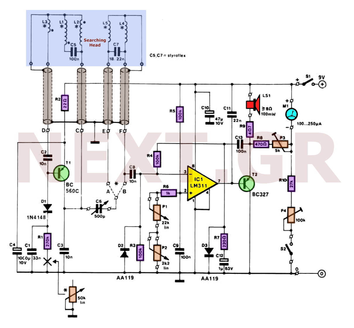Sens Detectors Metal Detector Circuits Discrimination Tr Ib Electric Field Circuit Schematic