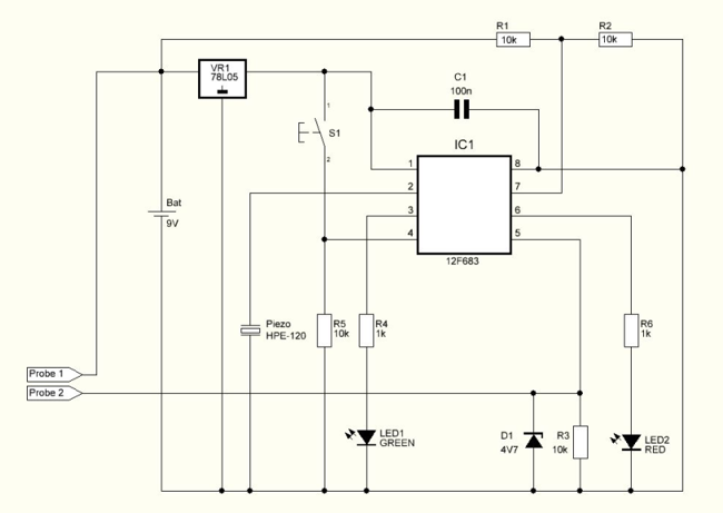 Flood Sensor with 12F683 - schematic