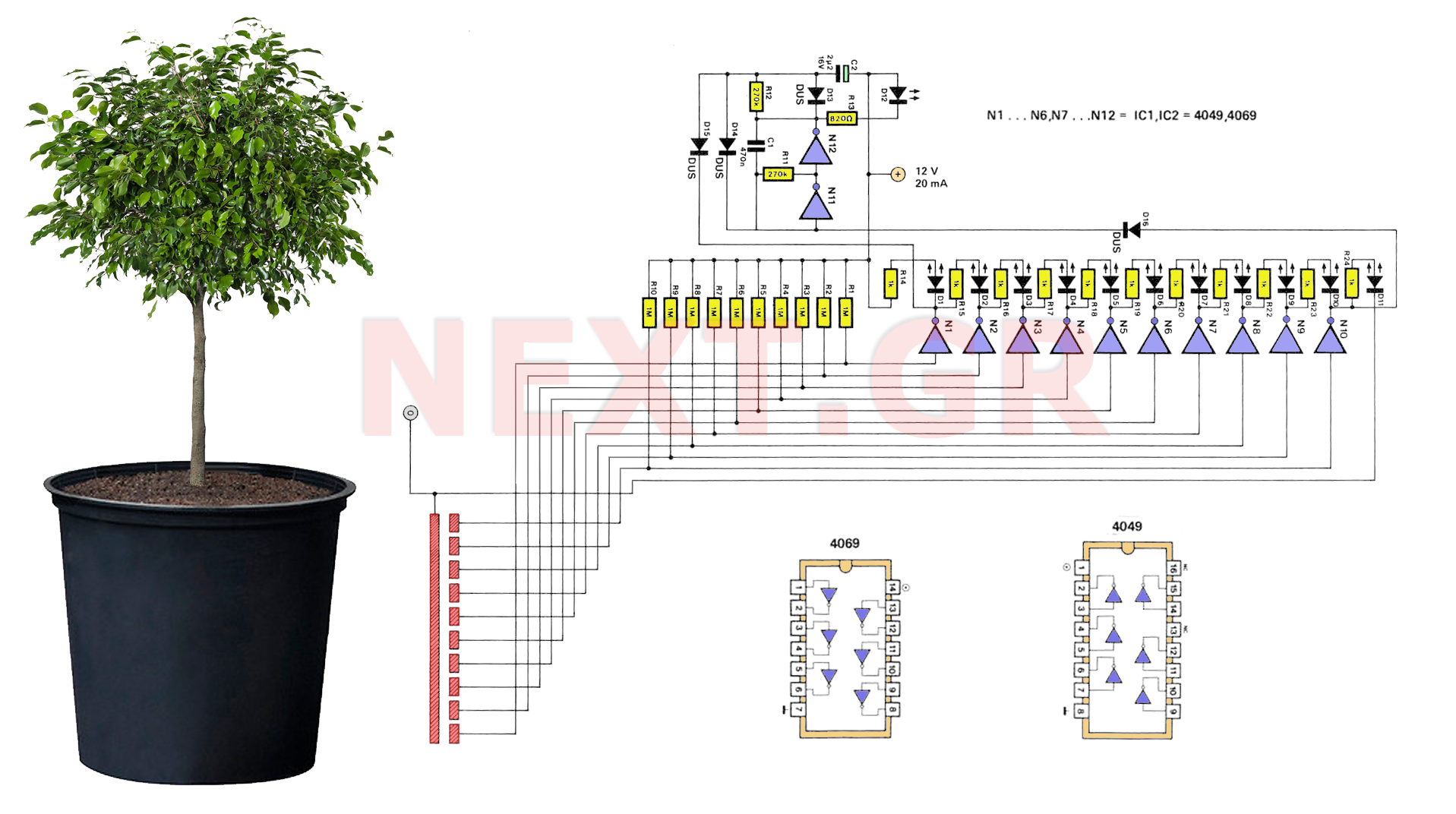 Plant-Pot Water Level Indicator Circuit - schematic