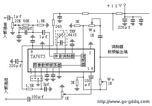 DIY 100mw TV Transmitter Printed Circuit Board (PCB) - schematic