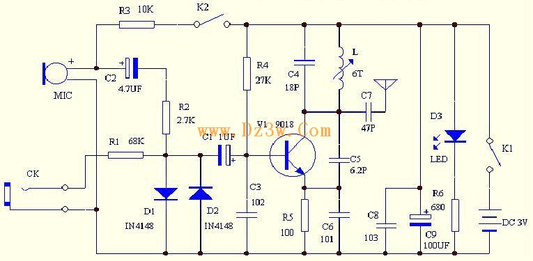 88-108mhz FM transmitter circuit production PCB - schematic