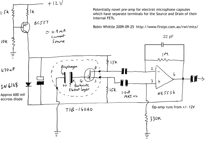 A potentially novel pre-amp for electret mic capsules which have their internal FETs Drain and Source connections available separately - schematic