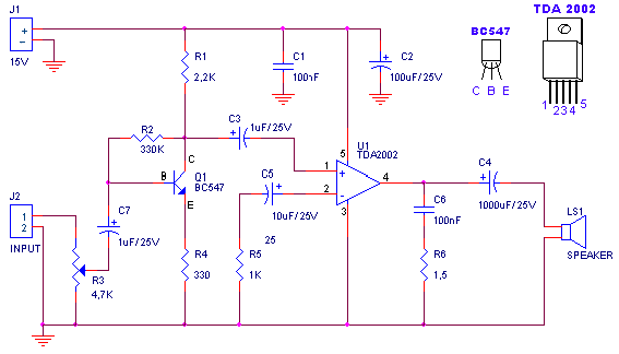 Amplifier of acoustic frequencies and preamplifier - schematic