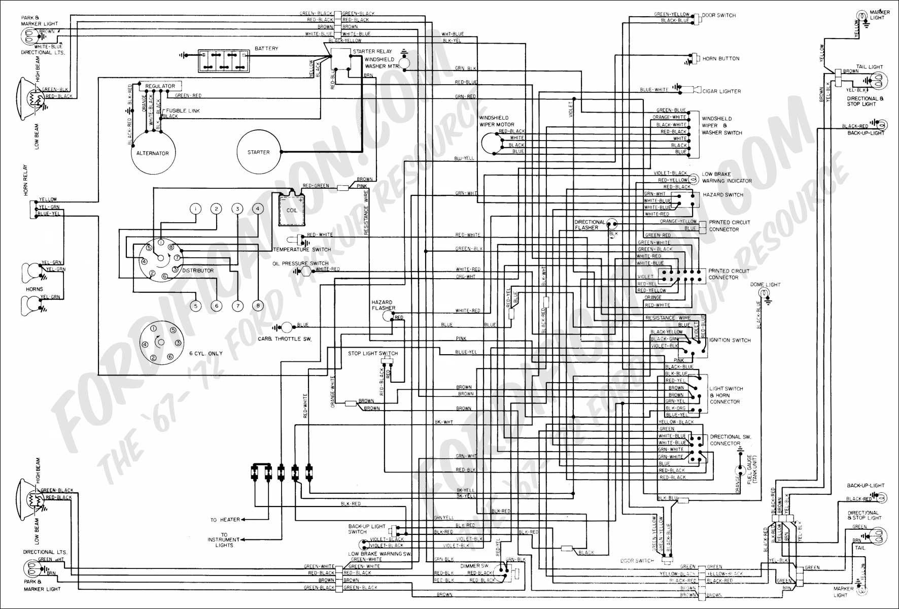1972 Ford V8 alternator wiring diagram and voltage regulator - schematic