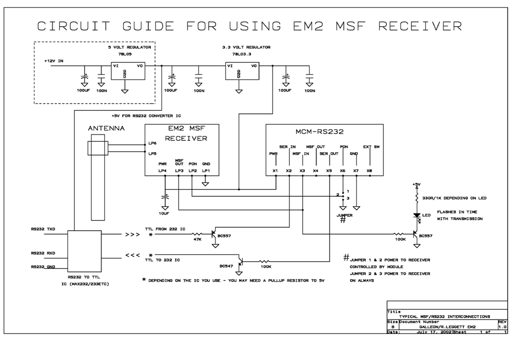 MSF radio time receiver - schematic