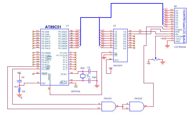 Writing text on LCD Module using 89C51 - schematic