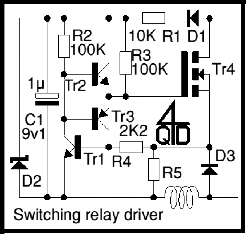 Current sensing relay - schematic
