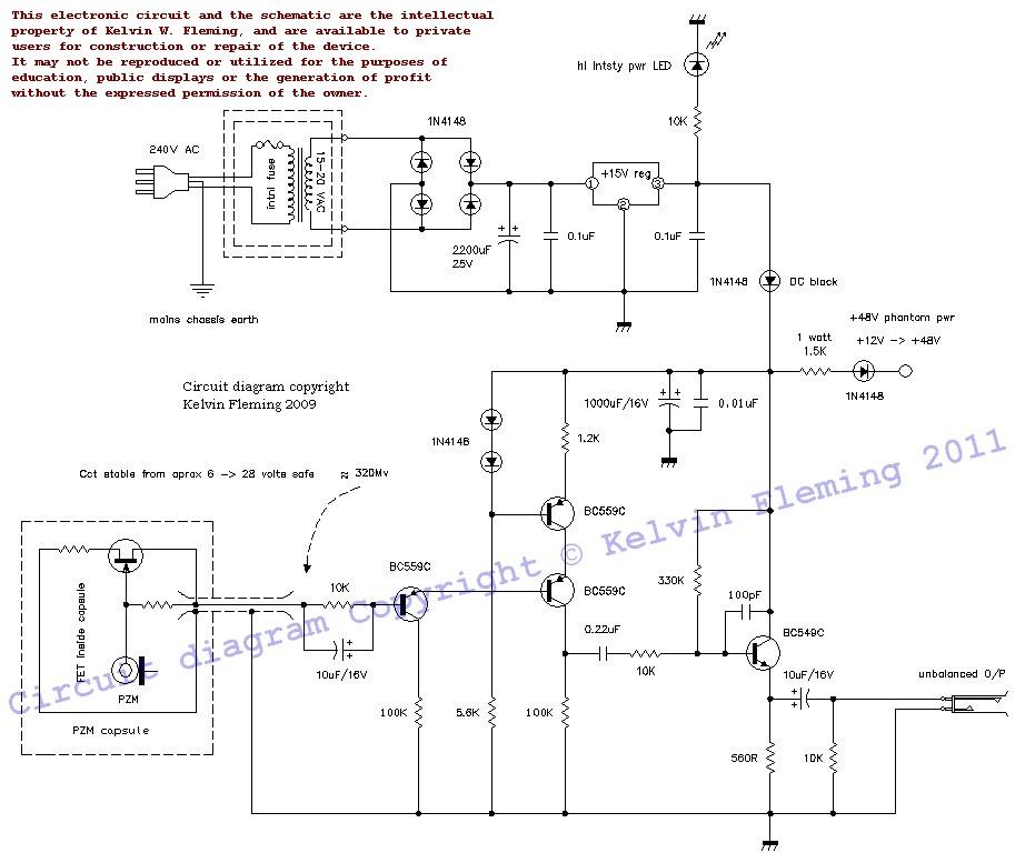 Tandy PZM mics pre-amp - schematic