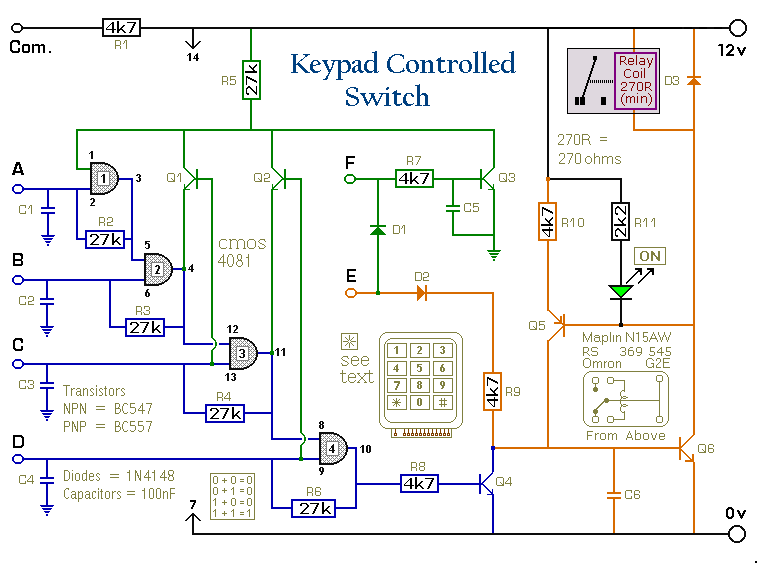 A 4-Digit Keypad Controlled Switch circuit - schematic