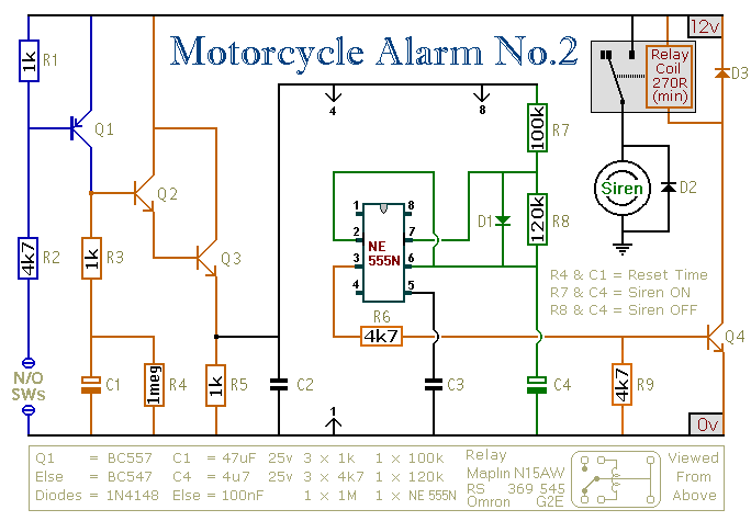 A 555 -Timer Based Motorcycle Alarm circuit - schematic