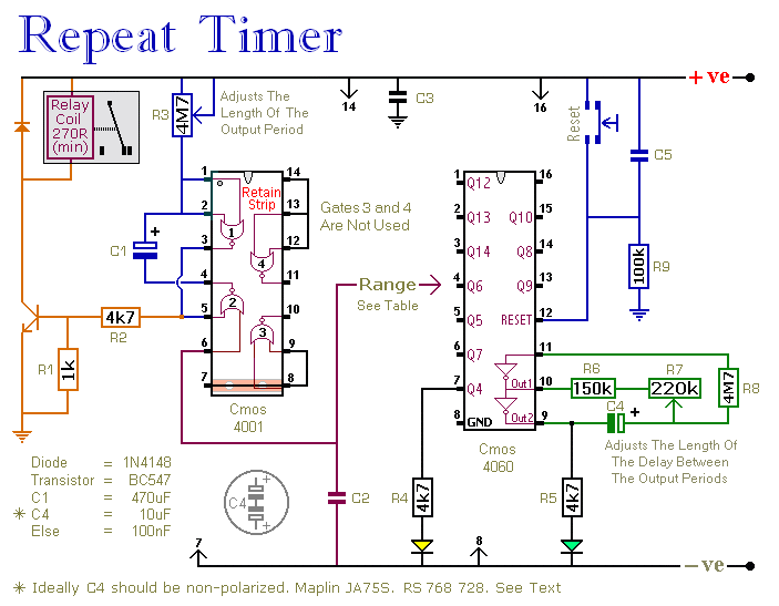 A Regularly Repeating Interval Timer circuit - schematic