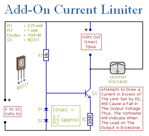 An Add-On Current Limiter For Your PSU circuit - schematic