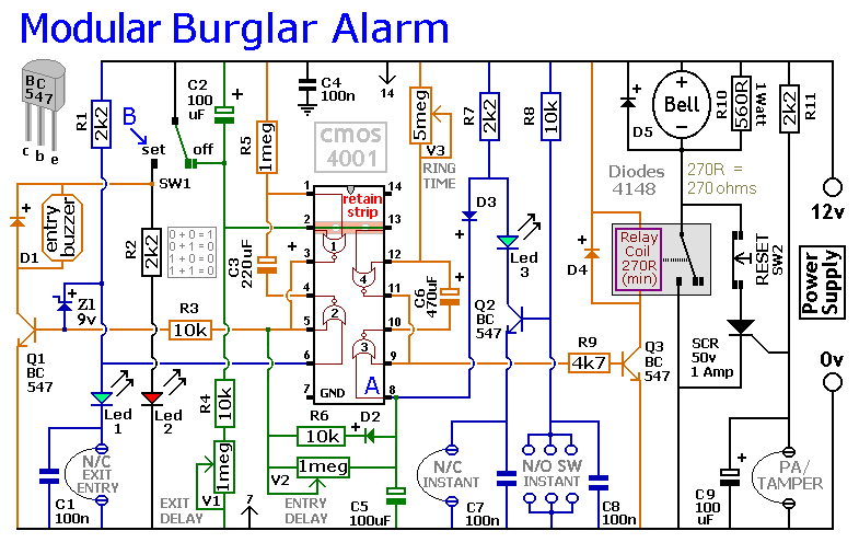 An Expandable Transistor Based Burglar Alarm furthermore Circuit Diagram Of Intruder Alarm System likewise Index7 additionally Servo Pulse To  M Converter L1010 moreover  on an expandable transistor based burglar alarm