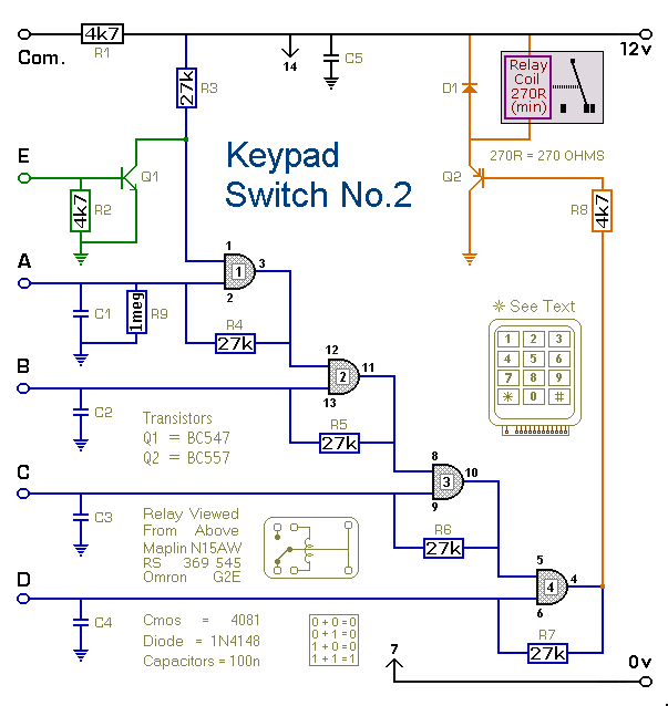 Keypad Controlled Switch No2 circuit - schematic