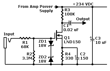 FET Preamp with LND150 - schematic