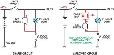 Simple Headlight Reminders circuit - schematic
