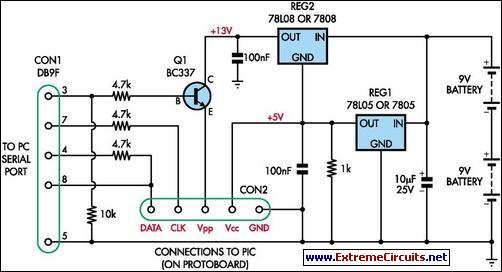 Simple Universal PIC Programmer circuit
