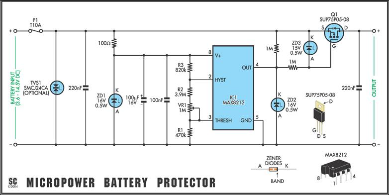 Versatile Micropower Battery Protector circuit - schematic