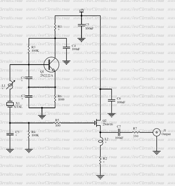 2N2222 Crystal Oscillator - schematic