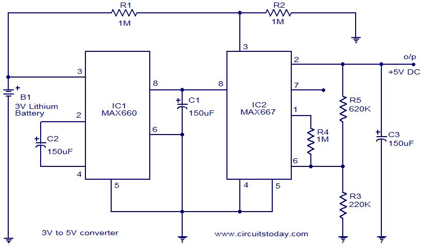 Voltage Converter 3V to 5V using MAX660