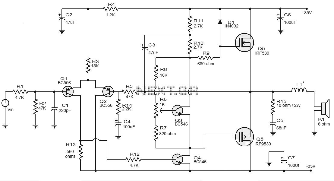 Mosfet Power AmplifierCircuit Schematic Mosfet Power - schematic