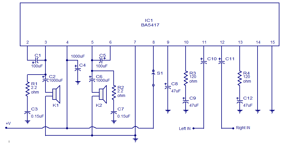 25 w stereo power amplifier circuit - schematic