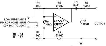 OP27 Fixed Gain Transformerless Microphone Preamplifier - schematic