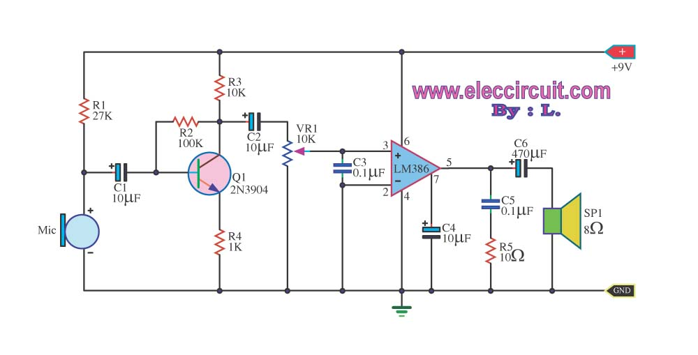 Pre mic audio amplifier with ic LM386 - schematic