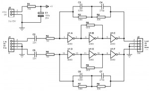 Simple RIAA Preamplifier using Logic IC CD4069 - schematic