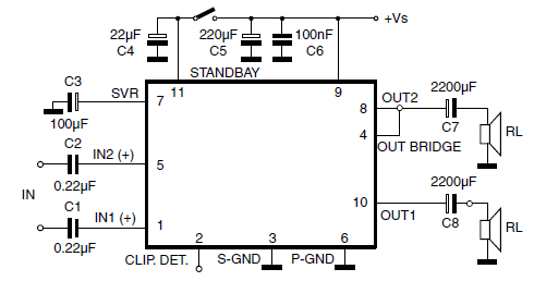TDA7360 Stereo Test and ApplicationCircuit and Datasheet