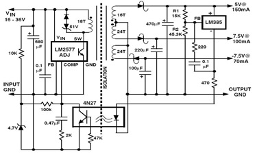 3-Output Isolated Flyback RegulatorCircuit using LM2577