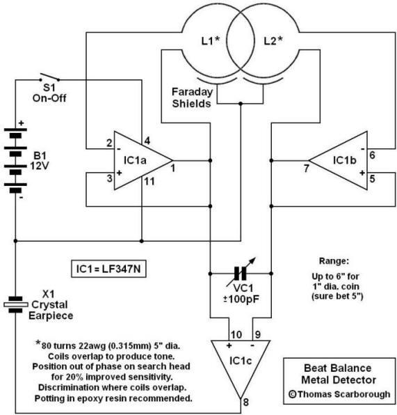 Beat Balance Metal Detector - schematic