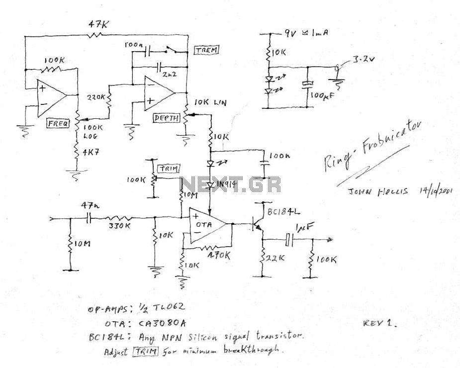 Guitar Vibrato circuit - schematic