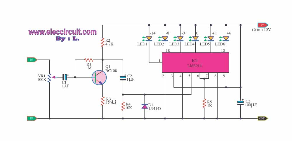 led circuit page 11 light laser led circuits next grled vu meter by ic lm3914