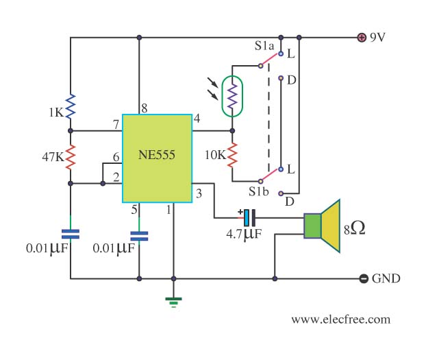 alarm circuit page 7 security circuits next grlight dark detector alarm by ic 555