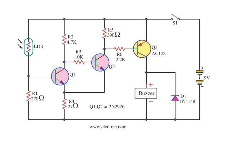 light sensor circuit page 3 sensors detectors circuits next grlight sensitive switch with ldr 2n2926