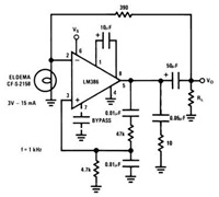 National LM386 Audio Power Amplifier Datasheet for Battery Operation - schematic