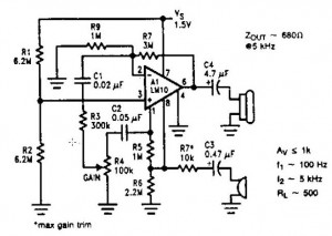 Low voltage microphone preamplifier - schematic
