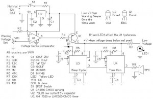Low voltage warning beeper circuit with CA3160 - schematic