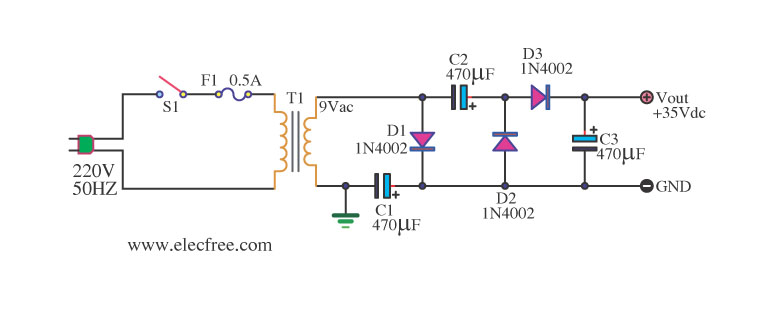 inverter circuit page 2 power supply circuits next grsimple ac to dc converter 9vac to 35vdc