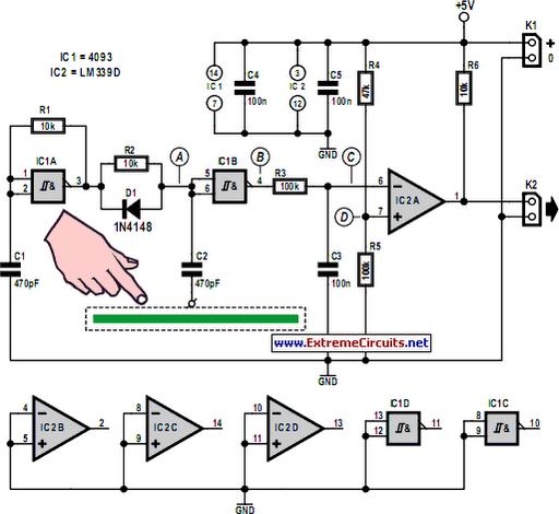 human detect circuit page 3 sensors detectors circuits next grsimple capacitive touch sensor