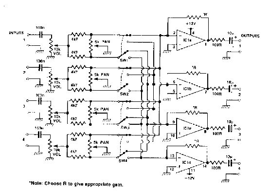 4 channel audio mixer with TL074 - schematic