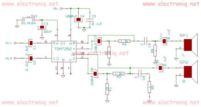 TDA7262 stereo 20 watts audio amplifier circuit design