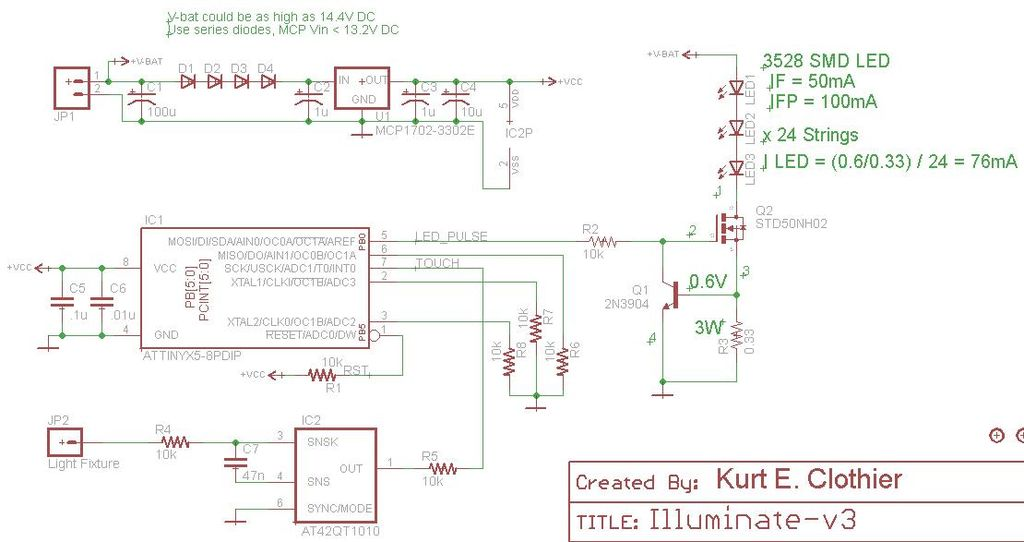 Custom LED Touch Light Fixture - schematic