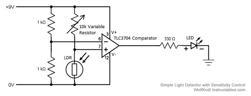 Simple Light Detector with Sensitivity Control - schematic