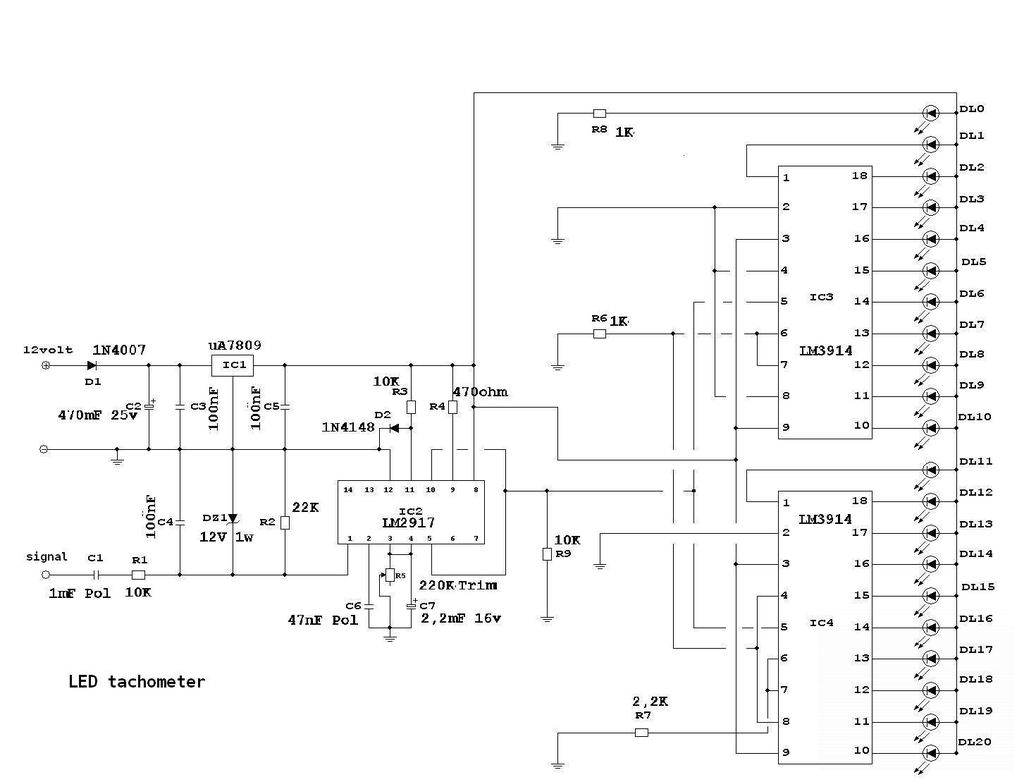 Wiring Diagram Rpm Gauge : Diy led tachomter rpm gauge repository next gr